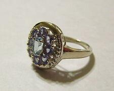 Sparkling Genuine Blue Topaz & Tanzanite Sterling Silver Ring Size 7.25   TR84