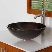 Unique Color Tempered Bathroom Glass Vessel Sink & Brushed Nickel Faucet Combo