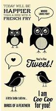 HAMPTON ARTJillibean Clear Stamps YOU'RE TWEET Owl Whoo loves you Birdie Told Me