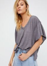 NWT We The Free My Boyfriends Tee T Shirt Top V Neck Oversize Coal Gray S M