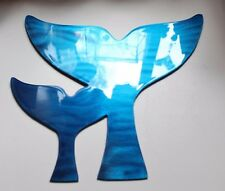 A Pair of Whale Flukes  Ocean Metallic Blue Metal Wall Decor