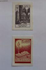 ✒ EX LIBRIS Alphonse Piedboeuf (XXe) - lot de 2