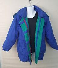 J Gallery Vintage Down Coat Blue Green Mens Ski Jacket Parka Medium Red Zippers