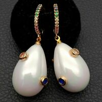 Teardrop White Sea Shell Pearl Mixed color Cz Pave Lever back Earrings