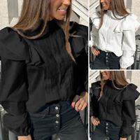 Ladies Long Sleeve Ruffle Neck Victorian Shirt OL Blouse Top Women Sizes S-5XL