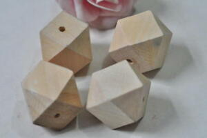 6pcs 30mm Unfinished Natural Wood Bead 14 Hedron Geometric Figure Solid Faceted