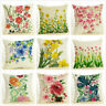 Flower Couch Bed Car Decorative Burlap Toss Pillow Cover Square Cushion Cases