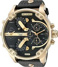 Diesel Mr Daddy 2.0 Oversized Gold Tone Black Leather Men Watch DZ7371 New Orig