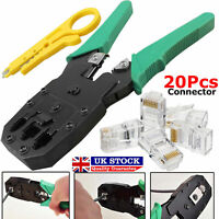 RJ45 Cat5e Cat6 Network LAN Ethernet Cable Crimping Crimper Tool +20 Connectors.