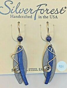 SILVER FOREST PURPLE BLUE DROP DANGLE SURGICAL STEEL EAR WIRE EARRINGS