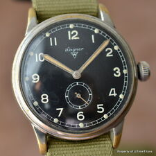 WAGNER UROFA 58 36MM MANUAL WIND MILITARY STYLE BLACK DIAL GREAT PATINA COOL 50s