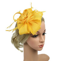 3Pcs Women Flower Mesh Ribbons Feathers Fascinator Hat Hair Clip Hairband NEW