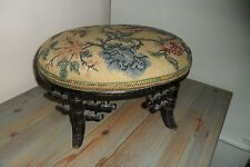 Antique Small Black Lacquer Tapestry Stool - Good condition.