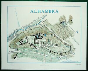 1900 Antique map of THE ALHAMBRA, GRANADA, ANDALUSIA, SPAIN. 120 years old chart