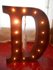 """12"""" Rustic Brown Metal 3D LED Light - Letter D Initial for Wall or Shelf"""
