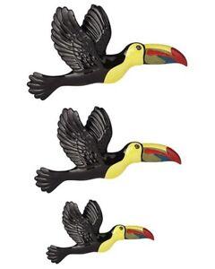 Set Of 3 Flying Toucans Toucan Birds Ceramic Wall Plaques Art Black Yellow