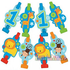 1st BIRTHDAY One Wild Boy BLOWOUTS (8) ~ First Party Supplies Favors Jungle Blue