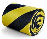 Frederick Thomas Designer Mens Tie - Dark Navy Blue & Yellow - Repp Club Striped