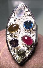 Sterling silver cocktail tourmaline/moonstone/amethyst ring UK P-P¼/US 8