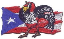 "10 Rooster on Puerto Rico Flag Embroidered Patches 2.75""x4.5"""