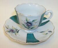 Vintage Bonde China Demitasse Teacup Saucer Set - Columbine Flowers