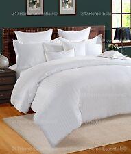 100 Cotton 300tc Satin Stripe Duvet Cover Luxury Single Double King Super King King