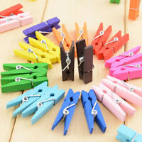 50PCS Colorful Wood Clothespin Clips Peg Mixed Photo Paper Clip Clothes Clamps