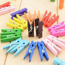 50 PIÈCES Plein de couleurs Bois Pince à linge Clips Peg Mélange Papier Photo