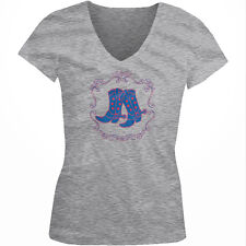 Cowboy Boots Line Dancing Spurs Stars Western Country My Juniors V-Neck T-Shirt