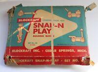 Vintage Snap-N-Play Building Blocks Original Box (check pics for contents)