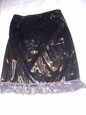 Black PVC gloss pencil skirt 8 10 lace frill festival club fetish retro hobble