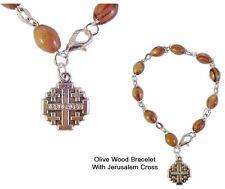 Olive Wood Rosary Bracelet from the Holy Land with Jerusalem Cross