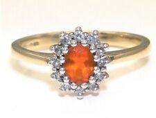 9CT FIRE OPAL DIAMOND RING 9 CARAT YELLOW GOLD  KATE CLUSTER RING   SIZE  L 1/2