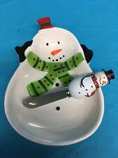 Christmas Snowman Cheese Dish & Spreader Ceramic Serving Dish Snowman Dish Candy