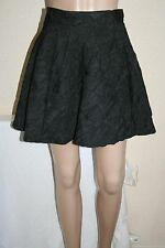 River Island Womens Black Urban Textured Short Flippy Skater Skirt Size 12 New