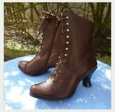 Women's Ankle Faux Leather Boot Autumn s Steampunk Lace Up High Heel Rustic Shoe