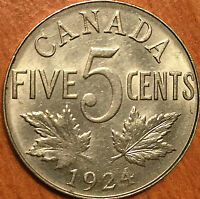 1924 CANADA 5 CENTS COIN - Really nice! Close to Unc if not!