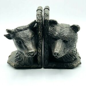 """BOOKENDS """"STOCK MARKET"""" BULL AND BEAR   Book Ends Heavy"""