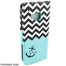For HTC One M9 Wallet Cover Case Stand Wallet Teal Anchor Credit Card Holder ID