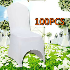 100x White Lycra Spandex Chair Covers Arched Front Wedding Party Event Banquet