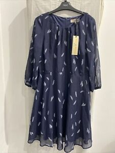 BILLIE & BLOSSOM PETITE Blue Leaf Print 3/4 Sleeve Dress Size UK 14