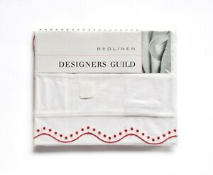 Designers Guild King Sham Pillow Cover White With Red Eyelet Trim NEW