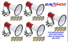5 x NEW 30W LOUD POWERFUL MEGAPHONES LOUDHAILER HORNS WITH BATTERIES - 301.079UK