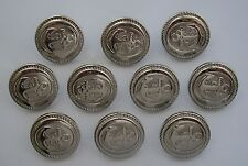 Silver Anchor Embossed Buttons x 10 ( Plastic) LARGE