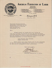 William Green, Pres. Afl, signed American Federation of Labor letterhead. Tls