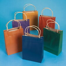 """12 Assorted Colored Gift Bags W/Jute Rope Handles 9"""""""