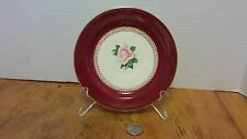 Lady Stratford Bread plate Homer Laughlin Maroon w/pink rose gold filigree '50's