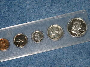 1957 U. S. Silver Proof Set with Frosted Franklin Half Obverse B8433