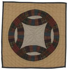 DOUBLE WEDDING RING PLAID QUILT BLOCK WALL HANGING / TABLE MAT 18x18""