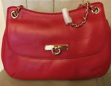 DKNY RED LEATHER HANDBAG WITH ADJUSTABLE  LEATHER GOLD CHAIN S/STRAP